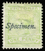 Lot 1070 [1 of 2]:1885-1900 Inscribed 'STAMP DUTY' Selection optd 'Specimen' Type 21b to 9d green x2, including obsolete Naish 1d yellow-green and 5d brown with partial handstamp only, also 1d Stamp Duty x2 optd 'Reprint'; mostly without gum. (15)