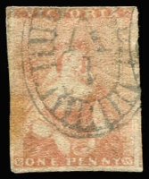 Lot 1074:1850-53 Half-Length Ham Altered 3rd State 1d reddish-brown 'White Veils', margins largely complete (just touching at top), faint wrinkle and mild aging at left, quite fine overall, Cat £170.