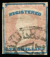 Lot 1321:1854-55 Imperf Calvert Woodblocks 1/- Registered SG #34, close margins, just touched in places, tiny thin in upper-left corner, tidy barred oval cancel, Cat £200.