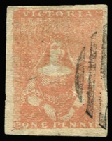 Lot 1078:1854-57 Half-Length Campbell & Fergusson 1d brick-red SG #26a, good to large margins, minor central thin, tidy cancel, Cat £110.