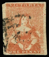 Lot 1079:1854-57 Half-Length Campbell & Fergusson 1d orange-brown SG #27 [Pos 7], trivial edge thin at top right, good to large margins, Cat £140.