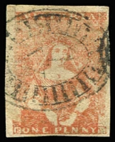 Lot 1080:1854-57 Half-Length Campbell & Fergusson 1d bright rose-pink SG #27b, complete margins, BO '1' cancel. Very fine example, Cat £160.