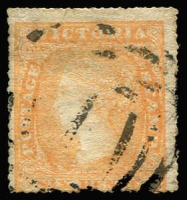Lot 1258:1857 Rouletted By Calvert Serrated 18-19 6d orange-yellow SG #60, BN '1' cancel of Melbourne, Cat £160.