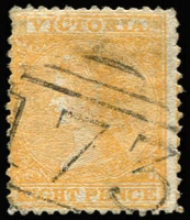 Lot 964:173: (A2) fine large-part Type 1B strike on 8d orange Laureate (tiny thin, Cat £110). [Rated R].  Allocated to Daylesford-PO 1/2/1858; LPO 1/5/1998.