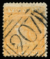 Lot 1254:207: (A2+) superb large-part Type 2 strike on 8d orange Laureate (fine example, Cat £110), cancel unrated but seldom encountered on this value.  Allocated to Kerang-PO 29/7/1858.