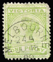 Lot 1310 [1 of 2]:Melbourne Provisional/Emergency Duplex Group comprising provisional duplex code '20A' (almost complete strike on piece); emergency duplex codes 24A x2 (one on piece), code 26 Type 1 x2 (letters 'A' & 'H'), code 26 Type 2 x3 (letters 'A', 'O' & 'S'); very scarce group. (8)