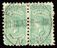 Lot 1353:English Mail NSW: 'ENGLISH MAIL/20JA13/NSW' (A2) fine strike on ½d Bantam pair, rated [NR], the only known example on a stamp (two known on cover).