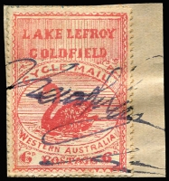 Lot 1172:Lake Lefroy Goldfield 6d Cycle Mail: lithographed forgery tied to small piece by a bogus signature. Impressive reference item.