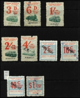 Lot 345 [1 of 2]:Selection with 1952 Locomotive/Truck Types 3d, 6d, 1/-, 2/- & 4/- (fault), Decimals 1966 2c, 10c, 40c (station Tambellup) & $1, 1977 Westrail roulettes to $2. (19)