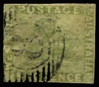 Lot 1166:1860-64 Imperf Recess Wmk Swan 6d sage-green SG #28, crease top right corner, margins close in places but complete, 15-Bar '8' cancel of Fremantle, Cat £400.