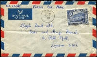 "Lot 1368 [3 of 7]:1893-1955 Cover Selection including 1893 Bristol (UK) to Aden with Proud Type D22 'AP4/93' arrival backstamp, 1937 ½a to 2a tied to cover to UK by '4APR37' cancels, 1951 to UK with KGVI 2½a endorsed ""FORCES AIR MAIL"", 1951 Kuwait to Aden inter-bank cover with Aden Camp arrival backstamp, plus two other items; also Benghiat & Sons (Turkish shop, Aden) PPCs x3, showing Aden scenes, all used within UK. (9 items)"