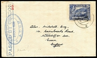 Lot 1444:1939 (Dec 29) cover to England with 'PASSED BY CENSOR' boxed handstamp overstruck with oval 'H.M.W/T STATION/29DEC1939/ADEN' naval Censor, both in blue, the latter rated Rare by Little.