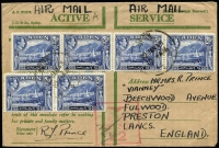 Lot 1370 [1 of 4]:1942-43 RAF Censor Covers x8, mostly 'Honour' Envelopes, all to England with generally fine RAF censor markings used at RAF HQ Steamer Point or at RAF Khormaksar. Attractively franked group in generally fine condition. (8)