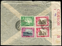 Lot 1371 [2 of 5]:1942-44 Civil Censor Covers x5 (three are registered) including 1942 Aden Camp registered to India with 'No 3' censor handstamp on red/white censor seal, Bombay arrival backstamp; [2] 1943 triple-rate airmail to USA '111' censor handstamp on Type F censor seal; [3] 1944 Aden Camp registered with 4r15a franking to Firestone Rubber Co USA with '113'-in circle handstamp on Type F censor seal, Akron arrival backstamp; plus two other items, condition generally fine. (5)