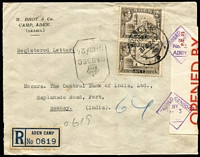 Lot 1371 [3 of 5]:1942-44 Civil Censor Covers x5 (three are registered) including 1942 Aden Camp registered to India with 'No 3' censor handstamp on red/white censor seal, Bombay arrival backstamp; [2] 1943 triple-rate airmail to USA '111' censor handstamp on Type F censor seal; [3] 1944 Aden Camp registered with 4r15a franking to Firestone Rubber Co USA with '113'-in circle handstamp on Type F censor seal, Akron arrival backstamp; plus two other items, condition generally fine. (5)