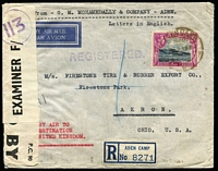 Lot 1371 [1 of 5]:1942-44 Civil Censor Covers x5 (three are registered) including 1942 Aden Camp registered to India with 'No 3' censor handstamp on red/white censor seal, Bombay arrival backstamp; [2] 1943 triple-rate airmail to USA '111' censor handstamp on Type F censor seal; [3] 1944 Aden Camp registered with 4r15a franking to Firestone Rubber Co USA with '113'-in circle handstamp on Type F censor seal, Akron arrival backstamp; plus two other items, condition generally fine. (5)