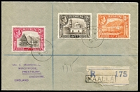 Lot 1372 [3 of 4]:1949 covers to England comprising [1] Maalla registered with 'MAALLA' handstamped registration label (scarce); also [2] Perim registered with Aden GPO label added as Perim Island without registration facilities, rare; both in very fine condition. (2)