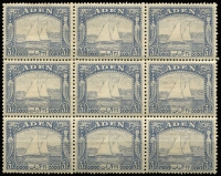 Lot 1276 [1 of 3]:1937 KGVI Pictorials ½a (marginal), 2½a & 3½a (one stamp torn) blocks of 9, mild gum toning, majority of units MUH, Cat £190+. (3 blks)
