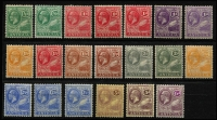 Lot 1447 [3 of 3]:1921-29 KGV Script CA ½d to 4/- set SG #62-80, with all SG listed shades plus several unlisted, generally fine mint. Cat £220+. (27)