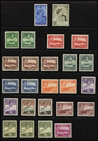 Lot 1551 [2 of 2]:1938-51 KGVI ½d to £1 set SG #98-109, including all Gibbons listed shades, plus ½d, 2½d & 5/- unlisted shades; also 1949 Silver Wedding (MUH); generally fine mint, Cat £250+. (26)
