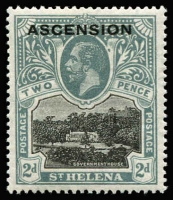 Lot 1439:1922 KGV Overprint on St Helena 2d black & grey, variety Blot on scroll SG #4b, mint, Cat £500. Scarce.