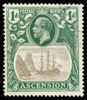Lot 1377:1924-33 KGV Badge 1d grey-black & deep blue-green variety Broken mainmast SG #11a superb used, Cat £275.