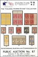 Lot 138:Australia: 'The Colonel Harrie Evans Collection - Outstanding Australian Commonwealth', Premier Philatelic Auctions catalogue (2001), a few lots marked with highlighter o/w fine, with p/r. Important sale.