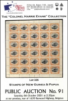 Lot 226:Papua & New Guinea: 'The Colonel Harrie Evans Collection - Stamps of New Guinea & Papua', Premier Philatelic Auctions catalogue (October 2001).