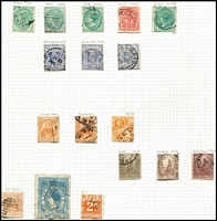 Lot 363 [1 of 4]:Collection with useful ranges from States with handy pickings including Tasmania 5d, 10d & 5/- Tablets CTO, WA 1863-64 6d deep lilac, Victoria 1859 2/- perforated Woodblock, 1900 1d (1/-) Boer War Fund mint (pulled perfs), etc, (few 100s).