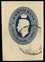 Lot 364 [2 of 3]:Miscellany with WA 1854-55 4d pale blue lightly cancelled (faint ink marks) margins almost complete (Cat £200); SA 1880 use of 1d 'O.S.' Postal Card cancelled with GPO Adelaide/SA Dpx-5 (ERD by 1 year & 9 months); also Australia 5/10d Gift Parcel stationery cut-out used with Melbourne datestamp. (3 items)