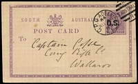 Lot 364 [1 of 3]:Miscellany with WA 1854-55 4d pale blue lightly cancelled (faint ink marks) margins almost complete (Cat £200); SA 1880 use of 1d 'O.S.' Postal Card cancelled with GPO Adelaide/SA Dpx-5 (ERD by 1 year & 9 months); also Australia 5/10d Gift Parcel stationery cut-out used with Melbourne datestamp. (3 items)