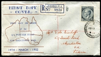 Lot 646 [1 of 2]:1952 KGVI 1/0½d tied to Stewart's Stamp Shop registered cover by Melbourne '19MY52' FDI datestamp.