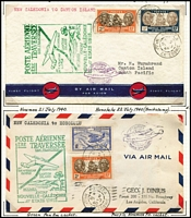 Lot 735 [2 of 5]:1940 FAM19 Australia-New Zealand-U.S.A. Service fine collection of covers on annotated leaves with strength in the intermediate stages to/from Auckland, Noumea, Canton Island and Honolulu, few inward to Australia censored, slight duplication, though all cachets are different AAMC #904b-5b. (35)