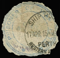 Lot 1035:Western Australia cut-out of 'PRISONER OF WAR LETTER/CMF/5RH MD' cachet in blue (roughly excised & creased), overstamped with large-part 'Perth Ship Room 17APR15' datestamp. Believed to the ERD for use of this cachet.