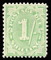 Lot 756 [2 of 2]:1908-09 Stroke After Shilling Values 1/- dull green & 5/- dull green P11½x11, fine mint Cat $675. (2)