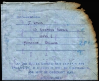 Lot 352 [2 of 4]:1968 (Apr 7) charred Airletter from England, salvaged from Heathrow aircraft crash on 6th April 1968, with stampless OHMS ambulance envelope & PMG's Department (Adelaide) advice note.