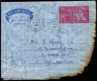 Lot 352 [1 of 4]:1968 (Apr 7) charred Airletter from England, salvaged from Heathrow aircraft crash on 6th April 1968, with stampless OHMS ambulance envelope & PMG's Department (Adelaide) advice note.