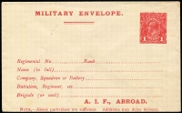 Lot 604:1916-17 1d Red Military Envelope Inscribed 'A.I.F. ABROAD' Setting 1 on buff wove paper BW #ME3B, fine unused, Cat $300.