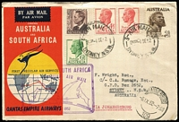 Lot 235 [3 of 7]:1955-69 Flight Covers with Qantas 1952 Australia-South Africa x4, Cocos 1955 x2, Qantas Australia-South Africa x2, 1969 Adelaide-Minlaton anniversary flight x2. (10)