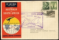 Lot 235 [1 of 7]:1955-69 Flight Covers with Qantas 1952 Australia-South Africa x4, Cocos 1955 x2, Qantas Australia-South Africa x2, 1969 Adelaide-Minlaton anniversary flight x2. (10)