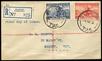 Lot 169 [2 of 5]:Pre-Decimal Covers including 1931 inwards cover from USA with 'PAQUEBOT' handstamp in red, 1933 Hobart to Melbourne with Victorian Centenary exhibition label tied by datestamp, 1934 (Dec 5) registered flight cover to UK, 1947 BCOF airmail cover with 3d tied by 1947 'No 8 AUST BASE PO' datestamp; others mostly FDCs or commemorative covers including 1936 Commonwealth Cable registered with Stanley '1AP36' datestamps. (26 items)