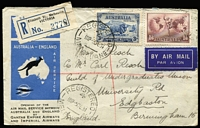 Lot 169 [3 of 5]:Pre-Decimal Covers including 1931 inwards cover from USA with 'PAQUEBOT' handstamp in red, 1933 Hobart to Melbourne with Victorian Centenary exhibition label tied by datestamp, 1934 (Dec 5) registered flight cover to UK, 1947 BCOF airmail cover with 3d tied by 1947 'No 8 AUST BASE PO' datestamp; others mostly FDCs or commemorative covers including 1936 Commonwealth Cable registered with Stanley '1AP36' datestamps. (26 items)