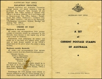 Lot 692 [2 of 2]:1966 Australian Post Office Presentation Folder in black on buff with with A.C. Brooks printer's imprint 'C.258/66' at base containing set of 1c QEII to 50c Navigators definitives CTO plus 75c to $4 Navigators optd 'SPECIMEN', all with full unmounted gum.