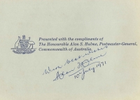 Lot 693 [2 of 2]:1971 Commonwealth Presentation Binder with embossed coat of arms on front, signed by Postmaster-General Alan Hulme on inside cover, containing 1966-71 issues complete to 1971 Rotary, plus AAT 1966 definitives, all mounted within. Rarely offered.