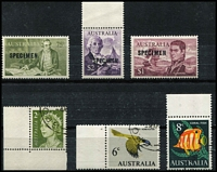 Lot 384 [2 of 3]:1966 75c To $4 Navigators Optd 'SPECIMEN' plus 2c QEII, 6c Bird & 8c Fish on stockcard attached by paperclip to the back cover only of an Australian Post Office presentation folder with printer's imprint 'C.11841/63', stamps with full unmounted gum.