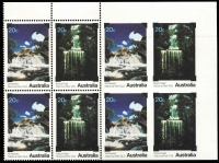 Lot 652:1979 20c National Parks error Se-tenant pair imperforate except at left BW #843b adjoining pairs in a block of 8, fresh MUH, Cat $2,500+.