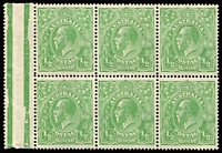 Lot 527 [2 of 4]:½d Green Selection with LMult Electro 5 marginal block of 6 [R37-39, 45-45], single ½d with incorrectly identified flaw; also NWPI Single Wmk Electro 4 part-right pane (with separations) with ACSC listed flaws x4 (BW #63(4)p-s), somewhat aged. (3 items)