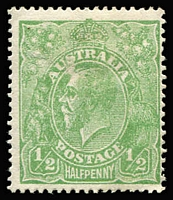 Lot 527 [3 of 4]:½d Green Selection with LMult Electro 5 marginal block of 6 [R37-39, 45-45], single ½d with incorrectly identified flaw; also NWPI Single Wmk Electro 4 part-right pane (with separations) with ACSC listed flaws x4 (BW #63(4)p-s), somewhat aged. (3 items)