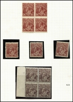 Lot 528 [3 of 4]:1½d Brown Mint & Used semi-specialised array on album pages with mint 1½d Black-Brown Single Wmk gutter block of 4, LMult Wmk block of 24 with left & right margins intact MUH; 1½d Brown LMult Wmk Watermark inverted single, perf 'OS' single, blocks of 4 x2 (one MUH marginal block); also varieties mostly used including 'tin shed' & Watermark inverted, plus official & state perfins and shades including possible LMult intense deep chocolate used; condition mostly fine. (90+ items)