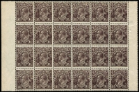 Lot 528 [1 of 4]:1½d Brown Mint & Used semi-specialised array on album pages with mint 1½d Black-Brown Single Wmk gutter block of 4, LMult Wmk block of 24 with left & right margins intact MUH; 1½d Brown LMult Wmk Watermark inverted single, perf 'OS' single, blocks of 4 x2 (one MUH marginal block); also varieties mostly used including 'tin shed' & Watermark inverted, plus official & state perfins and shades including possible LMult intense deep chocolate used; condition mostly fine. (90+ items)